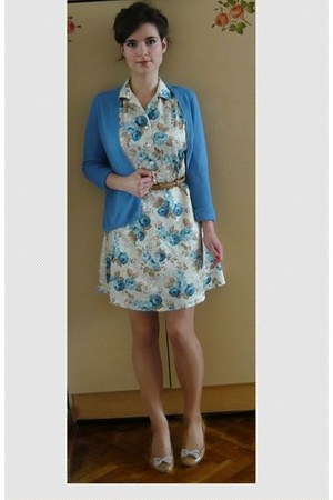 bronze Vintage altered dress - sky blue H&M cardigan - nude flats