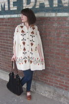 brown Jeffery Campbell clogs - black modcloth bag - beige vintage cardigan