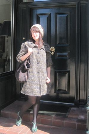 gray modcloth coat - green modcloth shoes