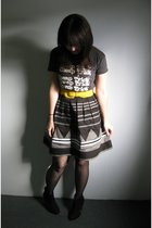 black vintage top - gray modcloth skirt - black modcloth tights