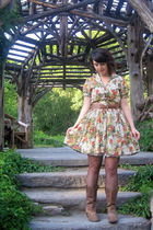 beige modcloth dress - brown Steve Madden boots - brown modcloth tights
