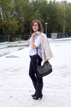 black Mustang boots - black Pepe Jeans jeans - camel vintage blazer