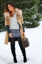 Zara coat - H&M sweater - Louis Vuitton bag - Forever 21 skirt