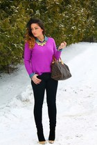 H&M sweater - Louis Vuitton bag - Target necklace