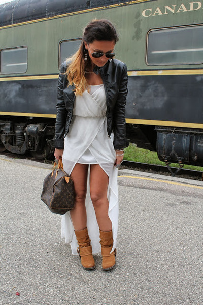 le chateau jacket - Aldo boots - Zara dress - Louis Vuitton bag