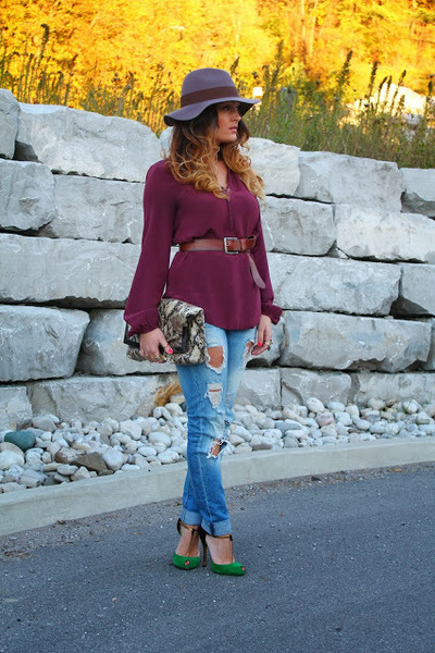 joe fresh style blouse - Zara jeans - Gucci heels