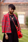 H-m-dress-plaid-river-island-blazer-satchel-zara-bag-studded-fiore-flats