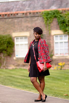 plaid River Island blazer - H&M dress - satchel Zara bag - studded Fiore flats