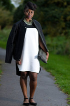 black and white Primark dress - black flats Bamboo shoes - zara Zara jacket