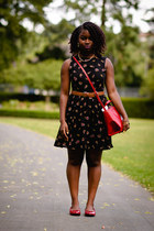 red shoes Peacocks shoes - skater Influence dress - red satchel Zara bag
