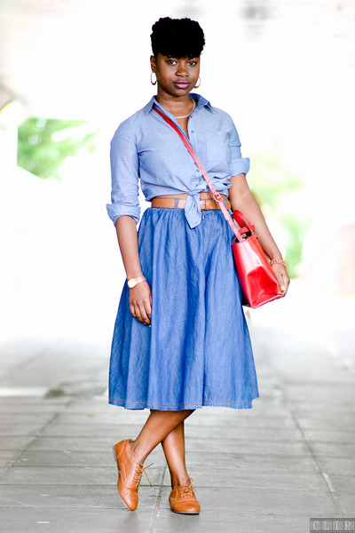 tan brogues Fiore shoes - new look shirt - satchel red Zara bag