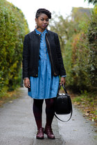denim Primark dress - ankle booties Matalan boots - black bomber Zara jacket