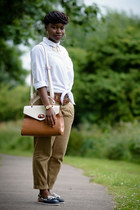 white shirt H&M shirt - satchel Aldo bag - chino River Island pants