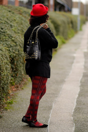 red new look hat - tartan Primark tights - playsuit asos shorts