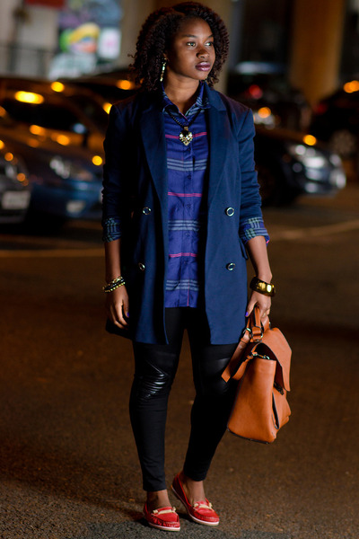 Primark jacket - leather pants unknown leggings - Primark shirt - tan Zara bag