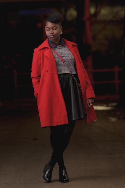 red vintage coat - ankle booties asos boots - faux fur Primark dress