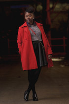 red vintage coat - ankle booties asos boots - faux fur Primark dress