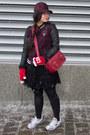 Black-aritzia-skirt-maroon-baseball-cap-aritzia-hat