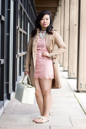 light brown trench Zara coat - bubble gum pink lace Choies dress