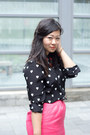 Black-heart-print-joe-fresh-blouse-hot-pink-pencil-skirt-banana-republic-skirt