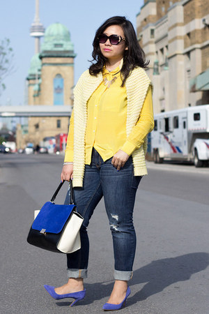 yellow Forever 21 sweater - blue Chicwish bag - yellow Club Monaco blouse