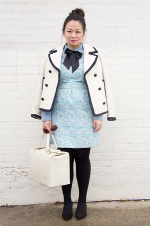 light blue metallic touch Urban Outfitters dress - white JCrew coat