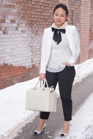 white H&M blazer - white Zara top - black bow M for Mendocino tie