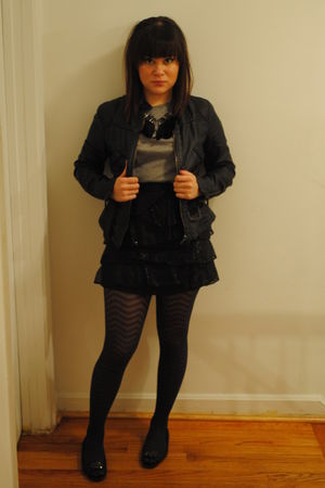 black Zara jacket - gray Heritage shirt - black Forever 21 skirt - gray tights -