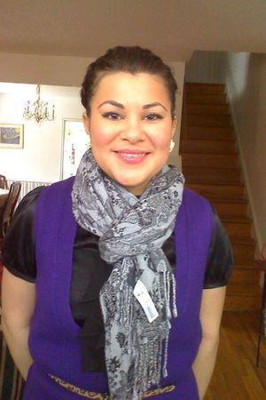 purple delias sweater - black Forever 21 dress - gray H&M scarf