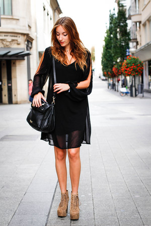 black choiescom dress - black Guess bag - beige lita Jeffrey Campbell heels