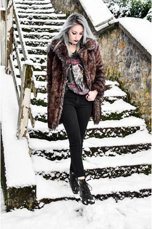 black Dr Martens boots - dark brown faux fur asos coat