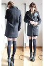 Zara-coat-studs-military-zara-sweater-black-velvet-american-apparel-skirt