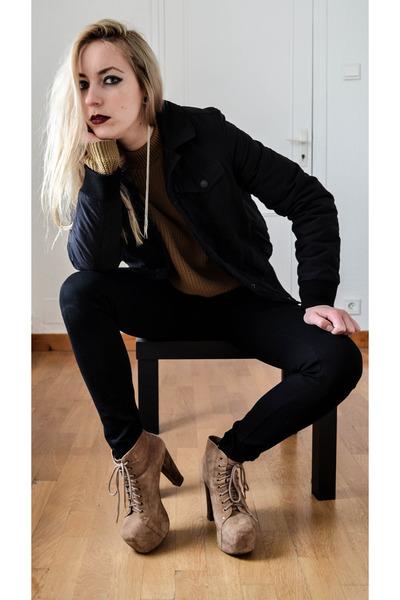 camel Boohoo sweater - black Levis jacket - black Zara pants