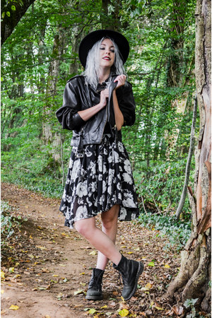 black Dr Martens boots - black StyleWe dress - black H&M hat