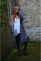 silver long cardigan Urban Outfitters cardigan