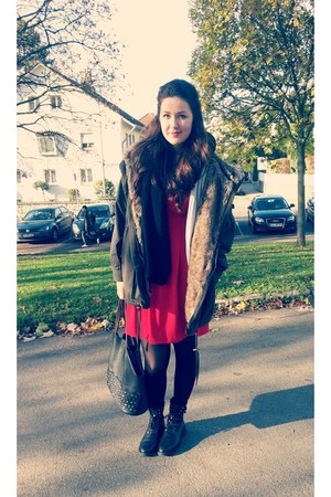 red H&M dress - black nitar boots Mango boots - army green Laura Scott jacket