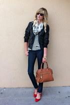 black Levis jacket - navy Rock & Republic jeans - white Alexander McQueen scarf