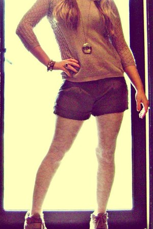 Forever 21 sweater - gifted tights - Old Navy shorts - GoJane sneakers