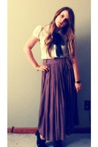 ivory Forever21 blouse - light brown Forever21 skirt - black Bakers heels
