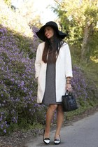 white Zara coat - Zara dress - Celine bag - tildon heels