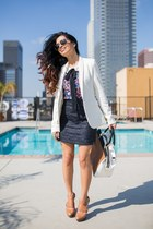 Zara blouse - cotton white asos blazer - tweed navy Zara skirt