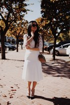 Chanel bag - lace white top Forever 21 shirt - Chanel sunglasses - asos skirt