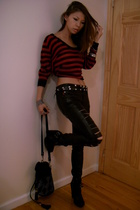 top - Tripp NYC pants - Sam Elderman shoes - Topshop purse - belt