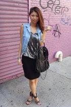 Zara top - skirt - Zara vest - Aldo shoes - purse