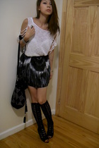Zara top - skirt - Urban Outfitters boots - Topshop accessories