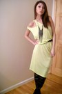 Yellow-alexander-wang-dress-silver-urban-outfitters-necklace-black-shoes