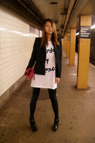 Urban Outfitters t-shirt - Pixie Market blazer - Forever 21 leggings - pietra al