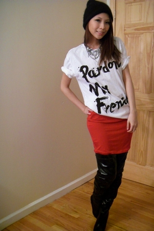 white Urban Outfitters t-shirt - black shoes - red skirt