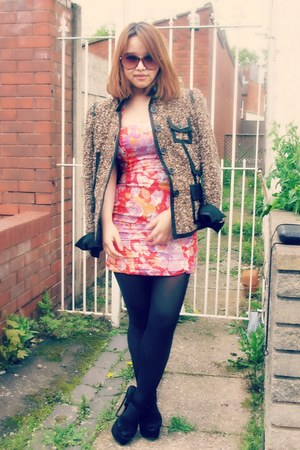 karen millen jacket - Zara dress - Topshop heels