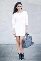 pamela love necklace - Dolce Vita boots - asos dress - city tote balenciaga bag